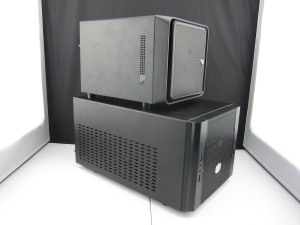 Norco S4-ITX case (top) compared to Coolermaster Elite 130